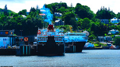 Scotland West Highlands Argyll Oban car ferries Clansman and Isle of Mull docked 7 July 2018 by Anne MacKay (Anne MacKay images of interest & wonder) Tags: scotland west highlands argyll oban caledonian macbrayne calmac car ferry ferries clansman isle mull docked xs1 7 july 2018 picture by anne mackay