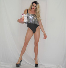 New video (queen.catch) Tags: crossdresser pantyhosereview youtube trannyheels shinypantyhose gatta silver leotard feminization wig ladyboy shemale transgender lgbt posing