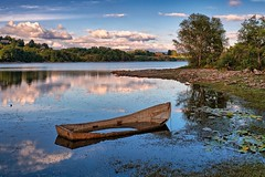 """Late summer, """"Still no love"""" (Vest der ute) Tags: norway sveio water waterscape landscape lake reflections trees tree boat grass sky clouds rocks houses fav25 fav200"""