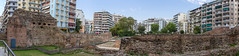 Panorama shot of the Galerius Palace Complex in Thessaloniki (marcoverch) Tags: griechenland chalkidiki afytos kassandra greek urlaub thessaloniki decentralizedadministrationof decentralizedadministrationofmacedoniaandthrace gr building gebäude architecture diearchitektur house haus old alt sky himmel wall mauer expression ausdruck city stadt outdoors drausen tree baum travel reise sight sicht demolition abriss urban städtisch tourism tourismus family familie town dorf concrete beton summer sommer stone stein history flying woods mist flag mono vacation leica macromondays panorama shot galeriuspalacecomplex