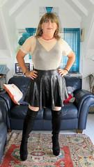 Leather skirt (Trixy Deans) Tags: crossdresser cd cute crossdressing crossdress classic cocktaildress corset shortskirt shortskirts boots kneeboots shorts tgirl tv transgendered transsexual transvestite tgirls xdresser sexy sexyheels sexytransvestite sexylegs shemale