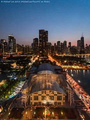 Aerial Navy Pier (20180811-DSC07698) (Michael.Lee.Pics.NYC) Tags: chicago navypier centennialwheel ferriswheel aerial night twilight sunset bluehour architecture cityscape skyline amusementpark sony a7rm2 voigtlanderheliar15mmf45