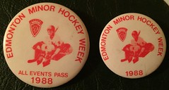 EDMONTON, ALBERTA 1988 ---MINOR HOCKEY WEEK ALL EVENTS PASS---PINBACK BUTTON (woody1778a) Tags: edmonton history pinback button alberta canada albertahistory