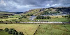 66716 passes 66761 by Arcow Quarry (robmcrorie) Tags: arrow quarry 66761 66716 gbrf class 66 hunslet clitheroe carlisle cement arcow train rail railway settle yorkshire drone phantom 4 railfan freight