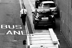 Not Their Day Is It (WorcesterBarry) Tags: blackwhite bnw blackandwhite street streetphotography streetphoto places people photographers paths parking worcester candid city buslane yellowlines parkingfine