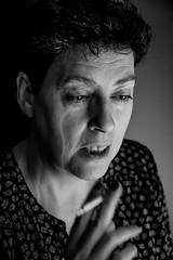Pausa (lauphern) Tags: photography photograph smoke fotografía cigarro fumar woman mujer real women blackandwhite blanco y negro introspective