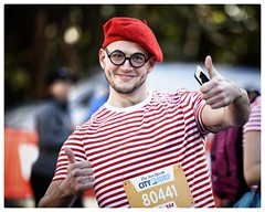He's here! (gro57074@bigpond.net.au) Tags: thumbsup sydney man glasses beret redberet stripes red streetportrait portrait colour runner racecharacter 2018citytosurf 2018 sydneyhalfmarathon f28 70200mm nikor d850 nikon wally where'swally