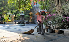 morning cleaning (meren34) Tags: morning cleaning holy cleaner fareast sweeper flower temple leafs