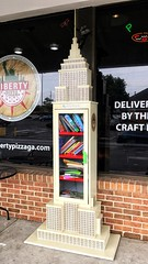 Little Free Library | Liberty Pizza | Powers Ferry Road Marietta, GA | Explored! (steveartist) Tags: iphonese snapseed empirestatebuilding architecturalmodel littlefreelibrary books libertypizzasign windows brickhalfwall signs neon