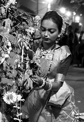 Bedecked for the festival (magiceye) Tags: woman deckedup holi festival monochrome vesave versova blackandwhite mumbai bnw maharashtra india street streetphoto streetportrait