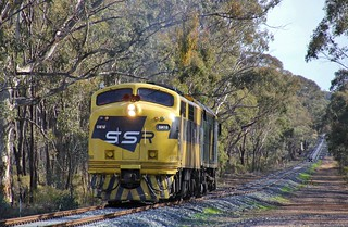 GM10 and 442s5 near the Pyrenees Hwy level crossing at Adelaide Lead bound for Maryborough