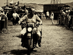 F U B A R (Neil. Moralee) Tags: neilmoralee steamrally2018neilmoralee motorcycle rider biker vintage rally military show steam norton fitzwarren somerset sepia toned black white bw bandw fubar neil moralee olympus omd em5 sunny blackandwhite man men toys boys field crowd spectators