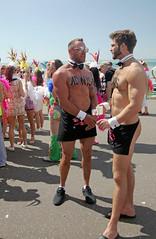 Brighton Community Pride 2017: I'm Adonis! No I'm Adonis.... (pg tips2) Tags: brighton pride 2017 lgbtq lgbt community nudenotrude