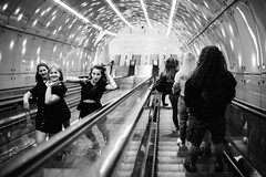 Girls Just Want to Have Fun 346 365 (ewitsoe) Tags: 50mm canoneos6dii street waeszawa warszawa erikwitsoe poland summer urban warsaw edsheeran cityescalator afterconcert girls polska ladies smiles waves bnw blackandwhite mono monochrome 346