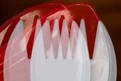 #MacroMondays #LineSymmetry (Mari Van Cauteren) Tags: doubleexposure macromondays fastfood utensils plastic spoon fork red white macro linesymmetry