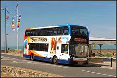 Stagecoach 15266 (Jason 87030) Tags: mmc enviro 400 darkestminds sea kent thanet margate southest eastkent doubledecker stagecoach canopy sunny weather lighting uk england coast roadsie shot shoot session august 2018 15266 yn16wvf bus fleet buses transport wheels sony ilce alpha a6000 lens tag flickr holiday break vacation blue white orange red anything everything publictransport flags poles