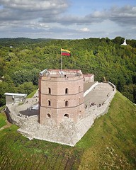 """(#droneview) Gediminas' Tower is the remaining part of the Upper Castle in #Vilnius, #Lithuania. The first wooden fortifications were built by Gediminas, Grand Duke of Lithuania. The first brick castle was completed in 1409 by Grand Duke Vytautas. 