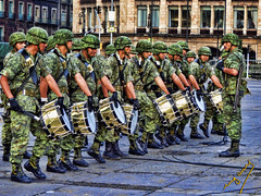 Soldiers (ingcuevas) Tags: soldier uniform street people army military green vibant bright ancient male boots awesome march helmet strong morning drums ngc