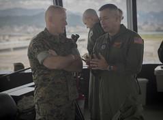 "Maj. Gen. Weidley (left) speaks with Sgt. Maj. Spadaro (right) during a tour of the air traffic control tower (#PACOM) Tags: 1stmaw okinawa japan marine marinecorps iiimef iiimarineexpeditionaryforce usjapanalliance mcas mcasfutenma pacific usmc mag36 hqmc pacom marineaircraftgroup36 1stmarineaircraftwing squadron wing motivational marines commstrat skilled smart strong iwakuni indopacom usindopacificcommand ""usindopacommcas yamaguchi jp"