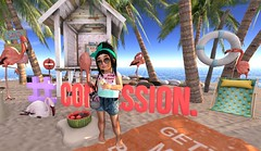 Lil Beach Babe (Serena Reins) Tags: confession photography secondlife kids toddlee doo cutie bytes shorts tank watermelon flip flops bessom hair beach sand palm trees flamingo hut pineapple lounger baby cute adorable fashionista