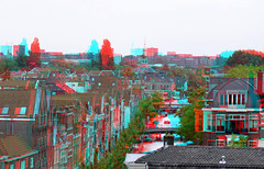 Oude Rijn Leiden 3D (wim hoppenbrouwers) Tags: ouderijn leiden 3d anaglyph stereo redcyan