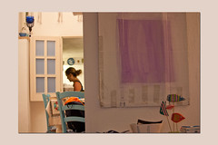 house (and wife) in Gaeta (sandrorotonaria) Tags: house gaeta red blue white window kitchen paint