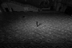 Alone in Oslo City Hall (johnlinford) Tags: oslo cityhall floor mosaic blackandwhite city hall oslocityhall selfie portrait candid art light shadow solitude alone millenial