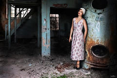 in old factory (dim.pagiantzas | photography) Tags: factory old abandonment textures atmospheric metal rust windows burner construction buildings interior colors colorfull woman model people portrait face dress look eyes dark canon female hut