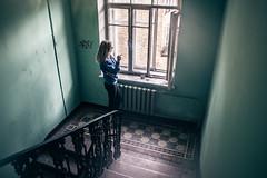 IMG_6985 (alexey parshin) Tags: woman smoke smoking cigarette interior stairs stpetersburg russia old town