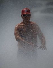 Mr W In The Fountain (Scott 97006) Tags: man water spray fountain cooling w cap shirtless