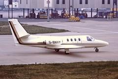 G-BNVY Cessna Citation 1 Gill Air BHX 15-04-88 (cvtperson) Tags: gbnvy cessna citation 1 gill air birmingham bhx egbb
