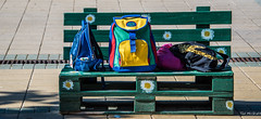2018 - Serbia - Donji Milanovac - Backpacks (Ted's photos - For Me & You) Tags: 2018 cropped nikon nikond750 nikonfx serbia tedmcgrath tedsphotos vignetting backpack bench colorful colourful street bags seat red redrule