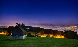 Lake Zurich from Pfannenstiel at night
