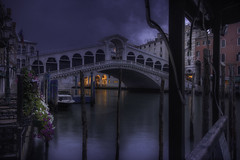 Venetian paths 101(bad day on Rialto) (Maurizio Fecchio) Tags: venice venezia bridge rialto italy sunrise morning clouds sky lights architecture travel no people tranquility city cityscape street blue atmosphere