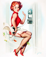 A Breeze in the Phone Booth by Donald Rust (gameraboy) Tags: donaldrust pinup pinupart illustration art vintage woman sexy abreezeinthephonebooth phonebooth lingerie garterbelt stockings nylons thighhighs heels
