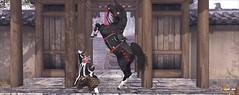 The Samurai and his Horse (Akari Aoki) Tags: firestorm secondlife horse teegle avatar virtualworld japan japanese samurai ancient beautiful man pony anime manga black red sword katana