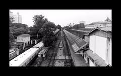 Rainy day (Antoine - Bkk) Tags: yangon train station myanmar black white rain fujifilm