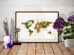 Map of the World Watercolor painting (marianv2014) Tags: mapoftheworld map maps splashes splatters digitalpainting wallart walldecor fineart digitalart europe northamerica southamerica asia australia africa greenland marianvoicu mapposter cartography contemporaryart modernpainting watercolour aquarelle contemporarydecor watercolorpainting modernwallart worldmapposter mapillustration colorfulart fortheroom artgifts affordableart red green yellow blue orange artistic decor colorful interiordesign decorative