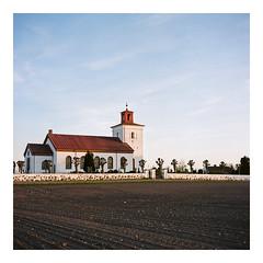Church of L.Slågarp - Kodak Porta 160VC exp* (magnus.joensson) Tags: sweden skåne söderslätt rolleiflex carl zeiss tessar 75mm f35 kodak porta 160vc exp sunset c41 may spring 6x6 church