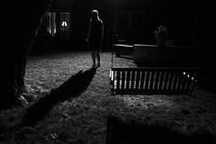 In the Backyard (Sean Anderson Media) Tags: backyard shadow night figure atmospheric blackandwhite moody monochrome sonya7sii tamron2875mmf28g woman lonefigure stranger backlit eerie swing yard spotlight grass fotodiox lensadapter