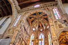 Firenze-Sta Croce-altar-ceiling (Halloween HJB) Tags: santa croce florence firenze basilica apse altar fresco stainedglass