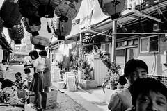 Jizo Festival 692 (soyokazeojisan) Tags: japan osaka bw city street blackandwhite jizo festival monochrome analog olympus m1 om1 28mm film neopanss fujifilm memories 昭和 1970s 1975
