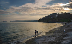 Suspended Between Day and Night (suerowlands2013) Tags: seatonbeach secornwall evening dusk sunset cloud silhouettes sea cliffs sand beach swimming couple looeisland holidays whitsandbay peace tranquility quiet