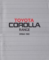 KE70 EE80 AE82 AE86 TOYOTA COROLLA UK RANGE 1985 (celicacity) Tags: ke70 estate ee80 gl ae82 gt ae86 toyota corolla uk range 1985 0000090398br spring brochure