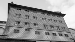 The back wall of Schwarzenberg Palace (HansPermana) Tags: prague praha prag city cityscape oldtown classic bohemian czech czechrepublic tschechien eu europe europa spring 2018 march praguecastle blackandwhite monochrome architecture