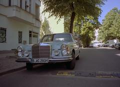 Berlin, Germany. (wojszyca) Tags: fuji gsw680iii 6x8 120 mediumformat fujinon sw 65mm kodak portra 400 epson v800 city urban berlin kreuzberg car classic carspotting soloparking mercedes