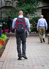 Bald Man with Backpack (LarryJay99 ) Tags: washington urban city washingtondc 2018 streets men male man guy guys dude dudes backpack baldhead red jeans sidewalk people