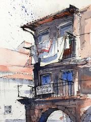 Laundry in the sunlight in colorful Porto. (alexhillkurtzart) Tags: watercolor fountainpen sketch porto urbansketch usk