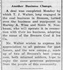 1920 - Wine & Nusbaum buy coal biz from Walter - Enquirer - 15 Apr 1920