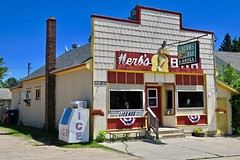 Herb's Bar, Rock, MI (Robby Virus) Tags: michigan mi up upper peninsula rock herbs bar sign signage neon grill restaurant alcohol booze hunting fishing license tavern pub